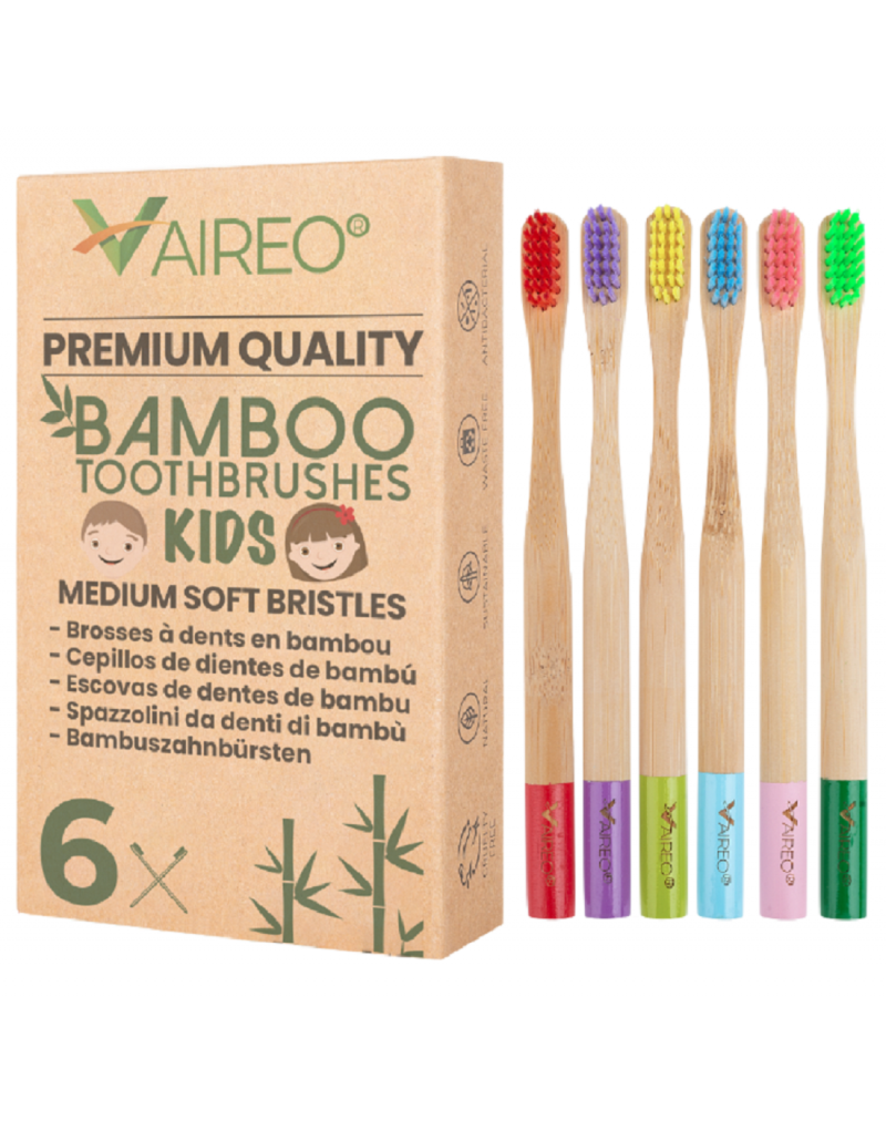 6 Pack Colorful Bamboo Toothbrush for Children